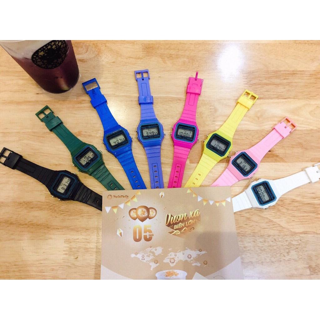 (Giá sỉ)Đồng hồ unisex điện tử dây nhựa có báo thức QT14