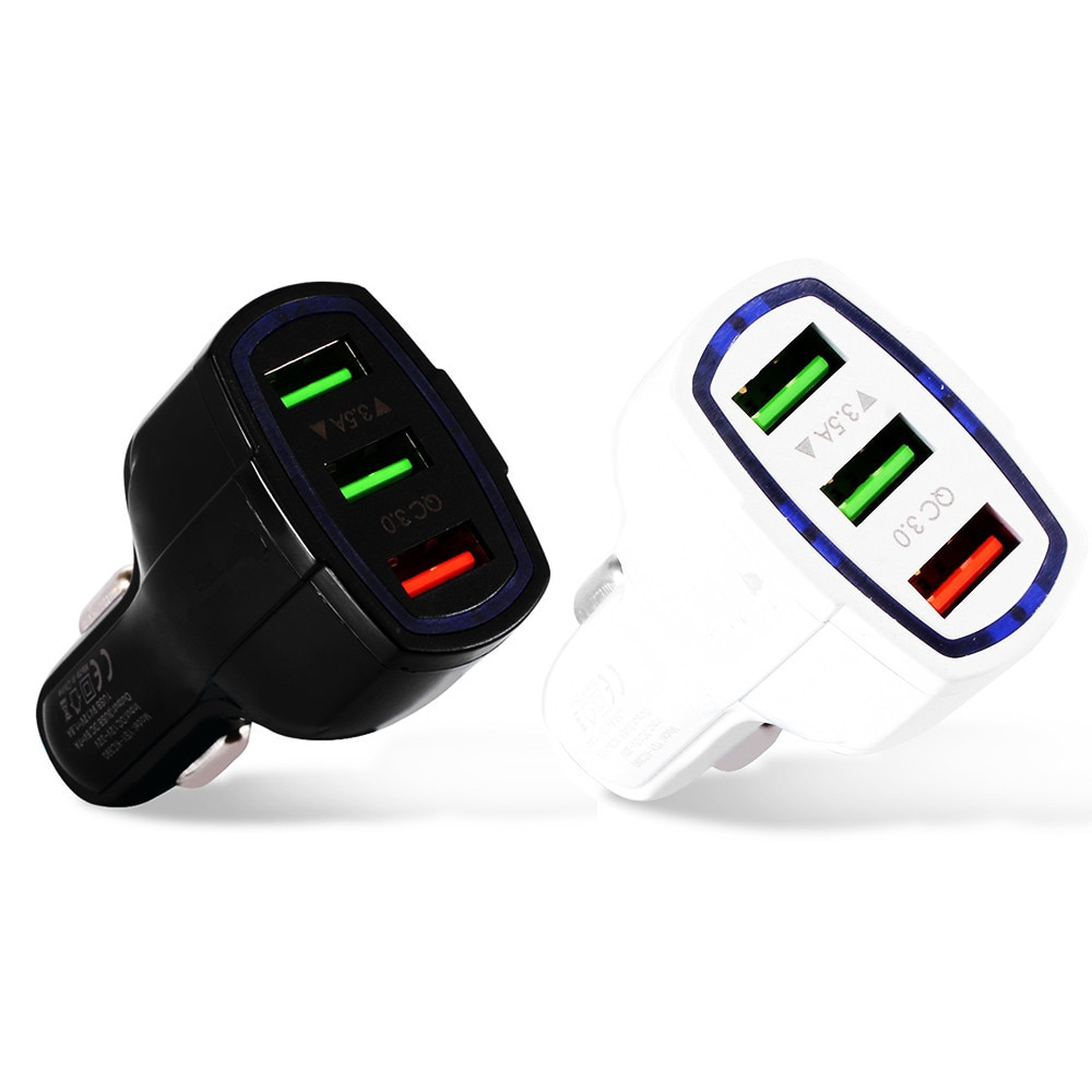 Quick Charge 3.0 3.5A Car Charger Adapter  3-Port QC3.0 Fast Charging For Mobile Phone GD