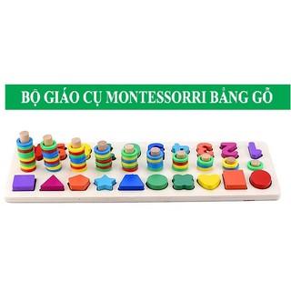 Bộ Giáo Cụ Montessori – Cột Tính Học Đếm Và Hình Khối 2 Trong 1 Bằng Gỗ cho bé