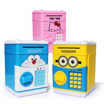 Két Sắt Điện Tử Mini Đô Rê Mon ,Mèo Hồng Kitty, Elsa, Vàng Minion,PoKeMon