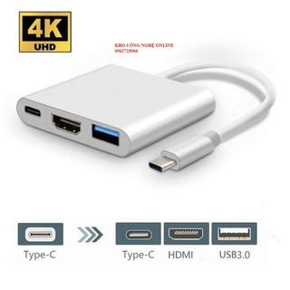 Adapter cáp chuyển Type-C sang HDMI 4k/USB/TypeC 3 trong 1 dùng cho Macbook, iPad, Smart Phone