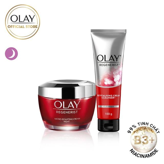 Bộ 2 sản phẩm Olay Regenerist ngăn ngừa lão hóa: Kem dưỡng ẩm đêm 50G + Sữa rửa mặt 100ML