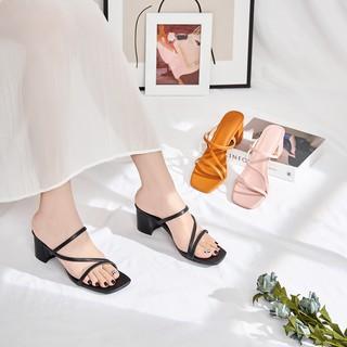 [Mã FASHIONRNK giảm 10k đơn từ 50k] Giày Cao Gót Quai Dây Gót Vuông Cao 4 cm GB00039 thumbnail