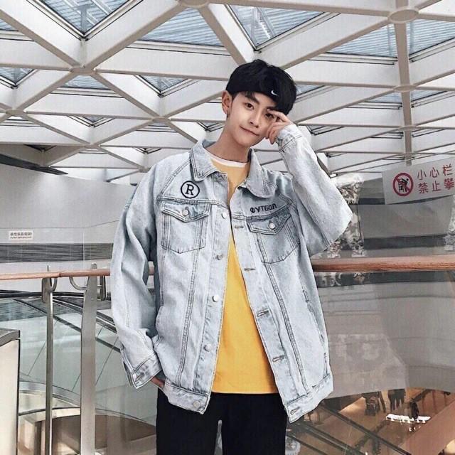 Áo khoác jean nam thêu chữ cao cấp - Áo khoác jeans