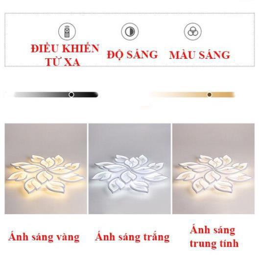 Đèn Ốp Trần Trang Trí - Đèn Trần Trang Trí Phòng Khách có 3 Chế Độ Ánh Sáng Có Điều Khiển Tăng Chỉnh