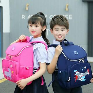 Cặp chống gù dáng hộp cho học sinh tiểu học cho bé trai in hình ngựa hồng máy bay E140
