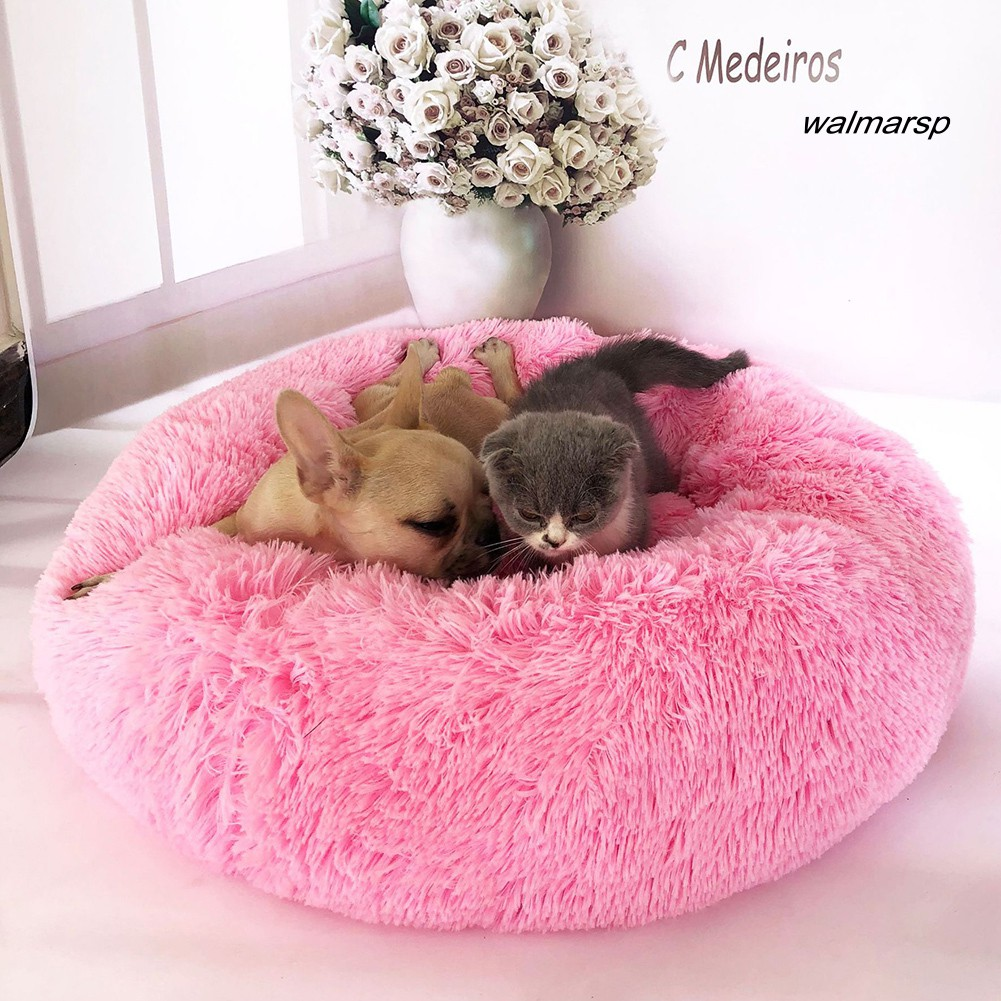 [WAL] Winter Small Dog Cat Cave Sleeping Bed Warm Plush Round Cushion Nest Pet Supply
