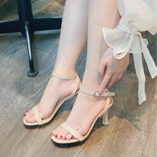 Giày cao gót nữ thời trang, giày sandal gót cao hỡ mũi đế hình trụ cao 7p fom chuẩn size 35-40 màu kem