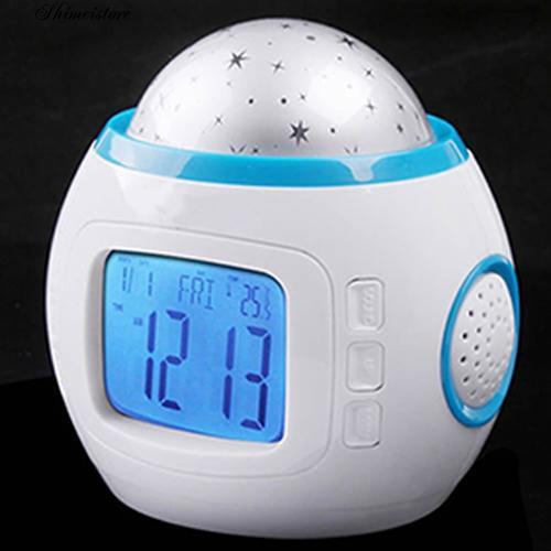 Đồng hồ báo thức hình ngôi sao có gắn đèn LED dùng trang trí phòng ngủ cho trẻ