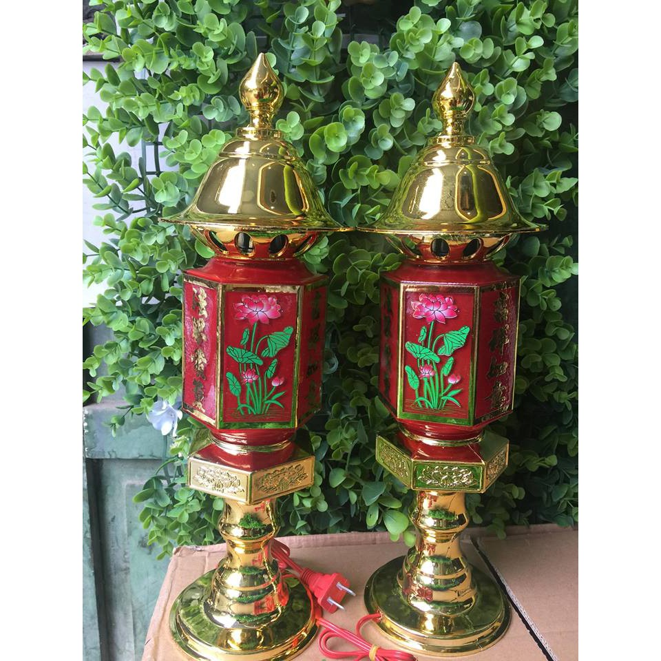 Bộ 2 chiếc đèn thờ lục giác cao 40cm