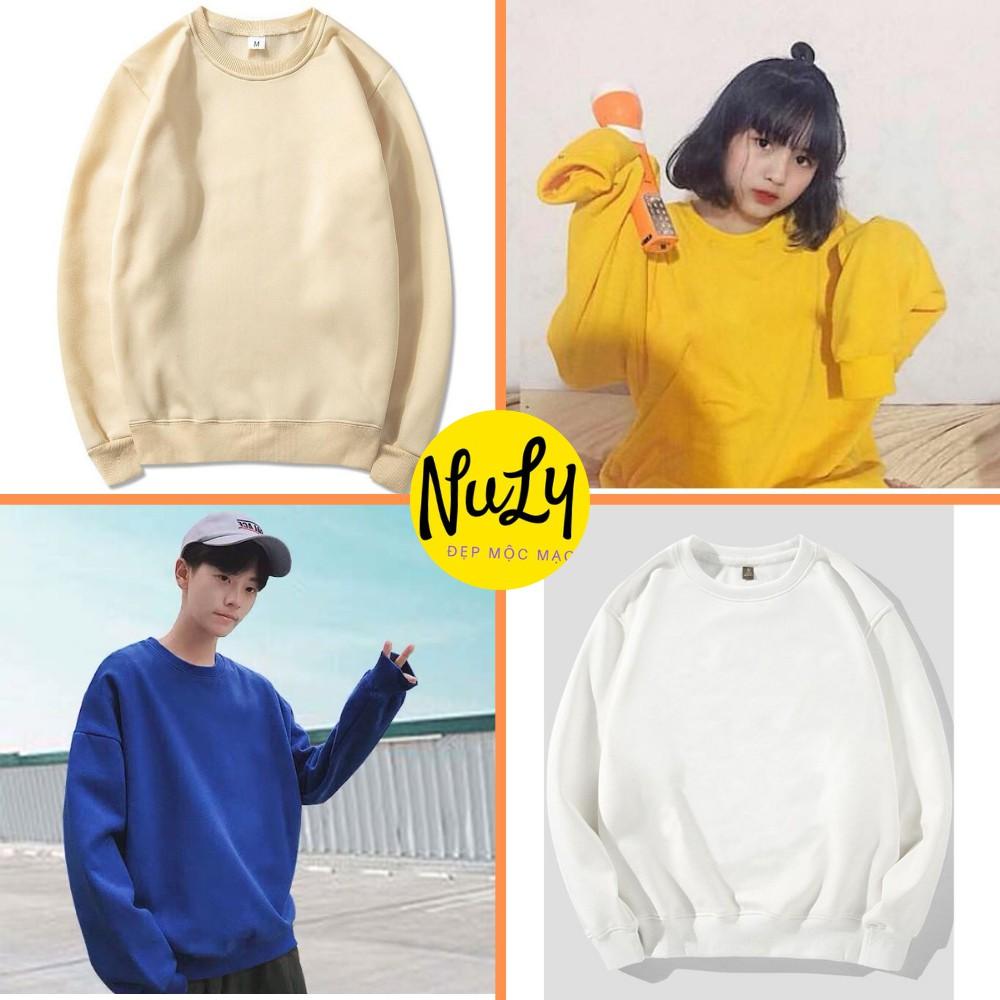 Áo nỉ bông Sweater Basic Unisex form rộng kiểu dáng Ulzzang, Nuly AST
