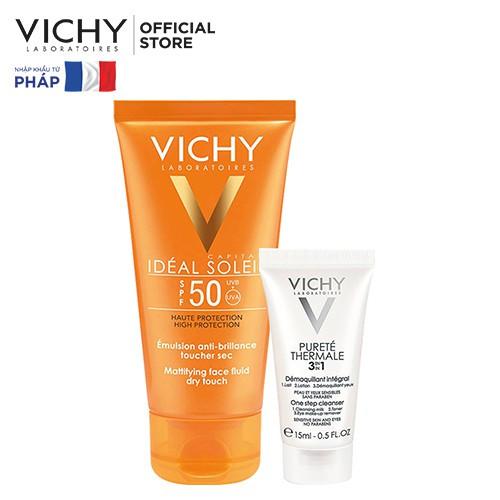 Bộ kem chống nắng không gây nhờn rít Vichy Ideal Soleil Dry touch 50ml & Sữa rửa mặt tẩy trang 3in1 15ml