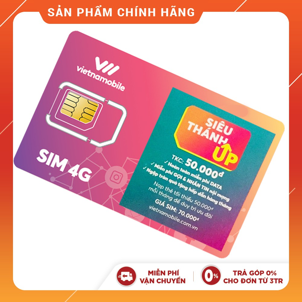 [Mã ELMALLMT giảm 8% đơn 900K] Siêu Thánh UP Hoàn toàn miễn phí Data 4G Vietnamobile Thoại & SMS nội mạng Official