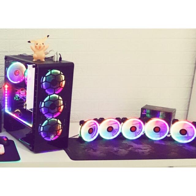 (Rẻ+Đẹp+Chất Lượng) Fan CoolMoon Dualring RGB 16 Triệu Màu Kèm 366 Hiệu Ứng