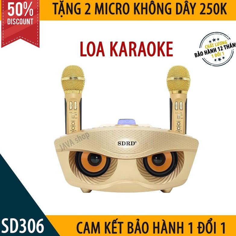Loa Karaoke Bluetooth Hát Hay SD 306 - Loa Hát Siêu Hay Kèm 2 Micro Không Dây- Dòng Loa 2 Micro Giá Rẻ