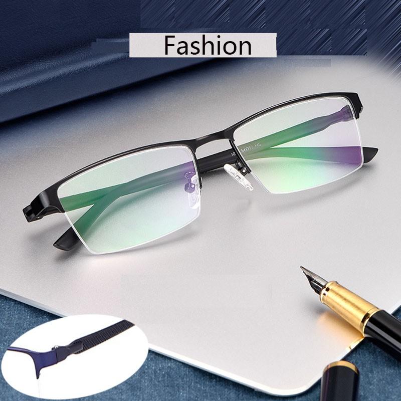 ธุรกิจแฟชั่นโลหะไทเทเนียมผู้ชายครึ่งกรอบแว่นตาเบาแสงแว่นสายตาสั้นงานแว่นตา