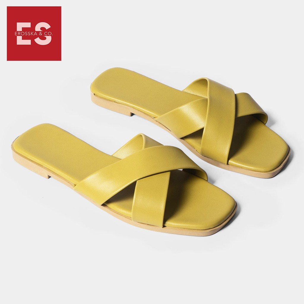 Dép nữ đế bệt quai chéo thời trang Erosska DE029 (màu vàng)