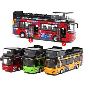 Xe ô tô buýt bằng sắt mui trần 2 tầng chạy cót đồ chơi trẻ em