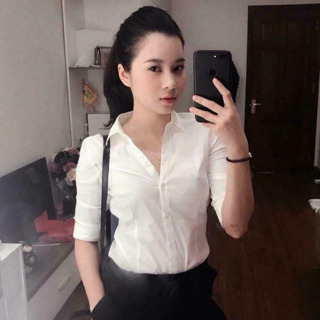 áo sơ mi trắng cổ V HM authen 100%