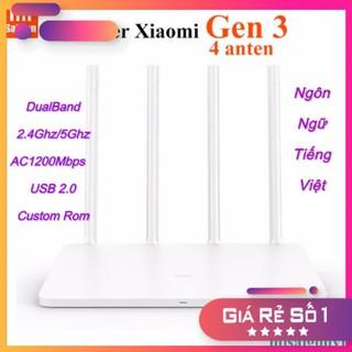Bộ phát wifi Xiaomi Gen3, Usb 2.0 Dual Band 2.4Ghz 5Ghz. Rom Padavan Tiếng Việt