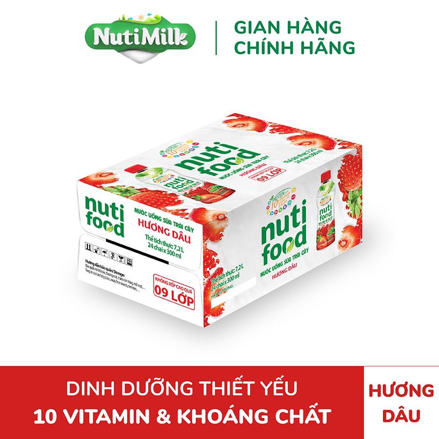 Thùng 24 chai NutiFood Dâu Chai 300ml