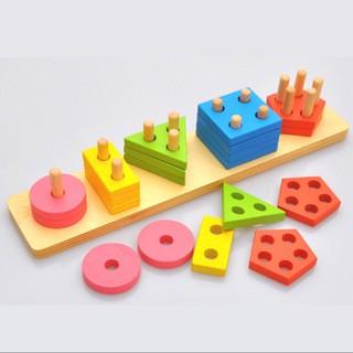 Đồ chơi giáo dục sớm Montessori cho trẻ (5 cọc hình khối)