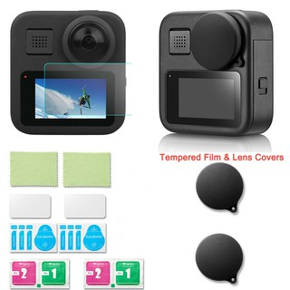 Màng bảo vệ màn hình LCD bằng kính cường lực có nắp đậy ống kính cho phụ kiện gắn máy ảnh hành động Gopro Max 360 Accessories