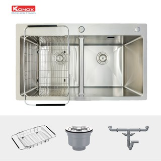 Chậu rửa bát inox KONOX Overmount Series KN8248DOB chất liệu inox 304AISI tiêu chuẩn châu Âu, tiêu chuẩn Quatest1