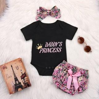 Set áo liền quần + Quần short + băng đô in họa tiết hoa xinh xắn dành cho bé gái