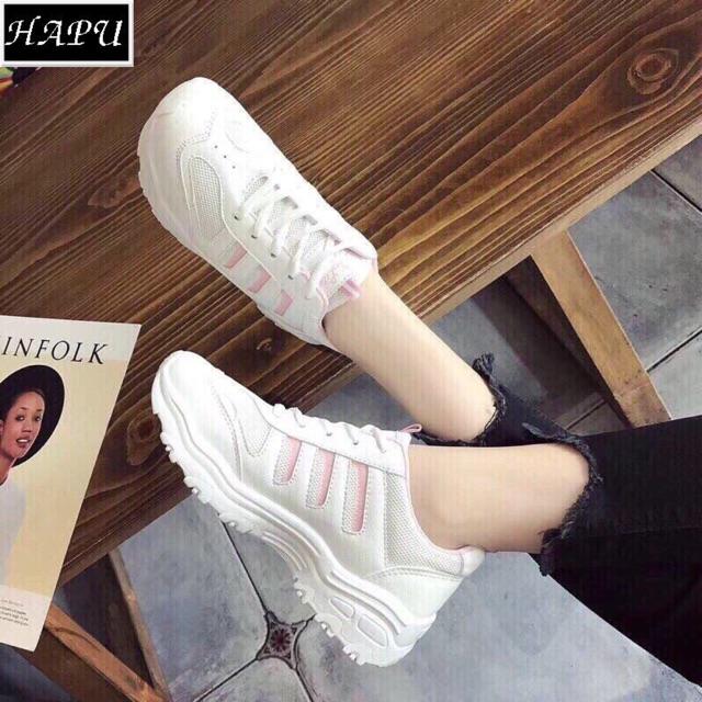 FREE SHIP (Video + Hình thật) Giày sneaker nữ 3 sọc đế răng cưa HAPU (sọc hồng, sọc đen)