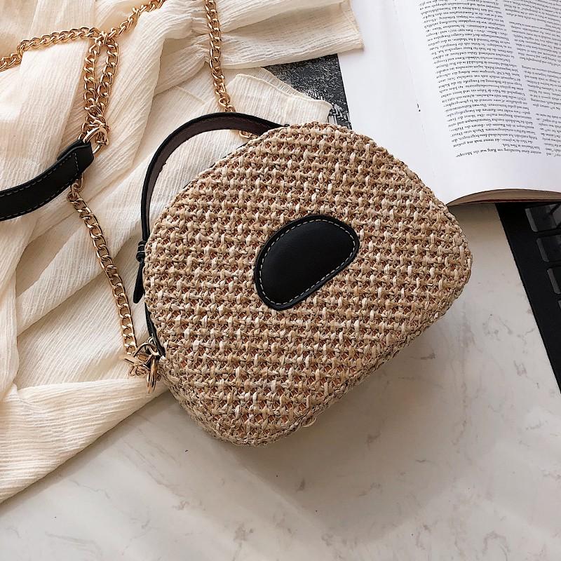 Woven bag handbags new 2019 solid color casual straw portabl