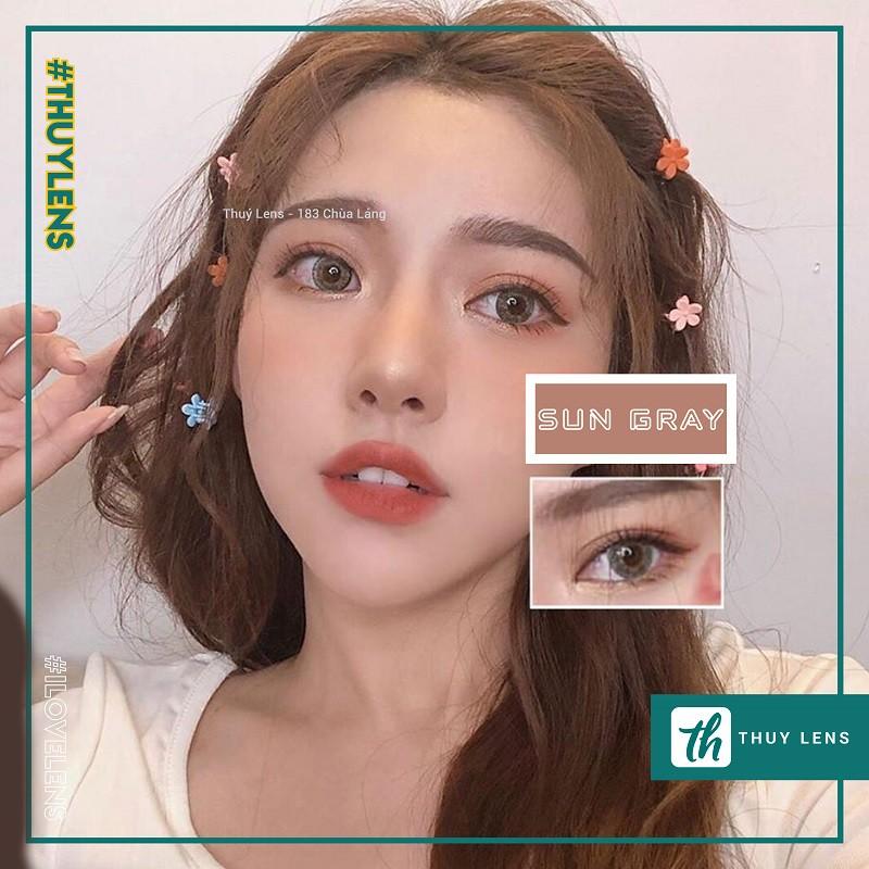 Kính áp tròng Hàn Quốc chính hãng Sun Gray – Lens cận màu xám giãn nhẹ
