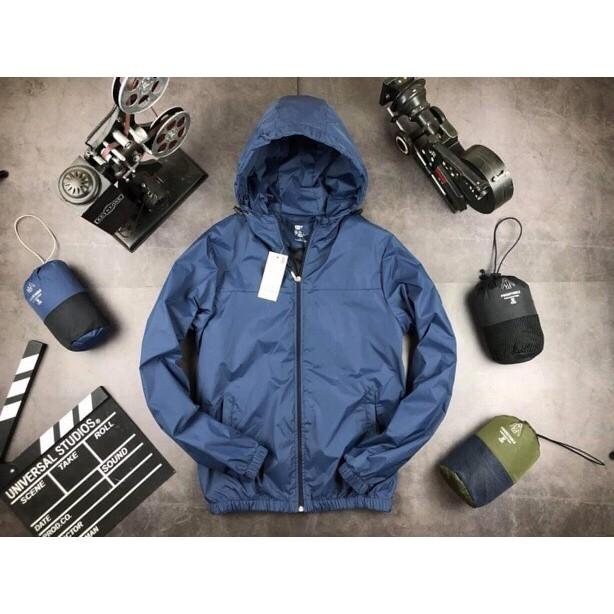 Áo khoác gió nam có mũ dáng chuẩn, 2 lớp gió, chống nước, chống bụi, chống nắng, giữ ấm