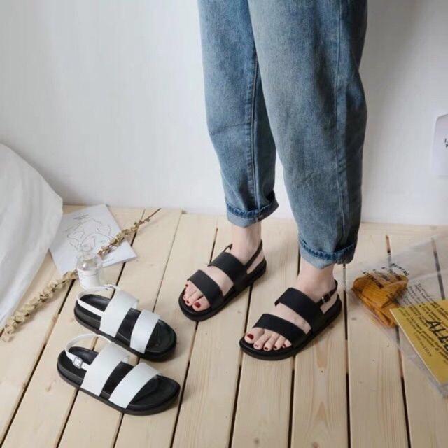 Sandal Chun Bản Ngang 2 màu Đen trắng
