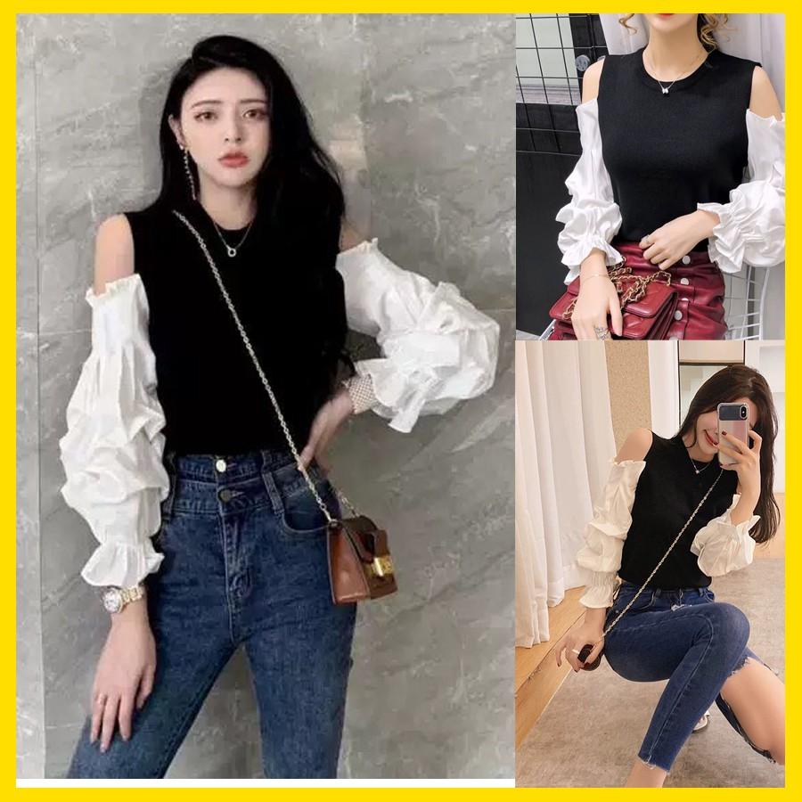 Áo thun kiểu khoét vai phối tay phồng, phong cách mới trẻ trung tươi tắn hàng đẹp mà giá rẻ tại Thời Trang VADA - AT0079
