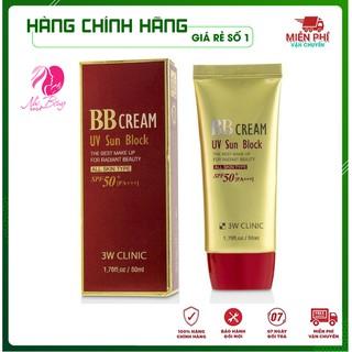 [Hàng Nhập Khẩu] Kem nền trang điểm - Kem che khuyết điểm chống nắng BB Cream UV Sun Block 3W Clinic Hàn Quốc 50ml thumbnail