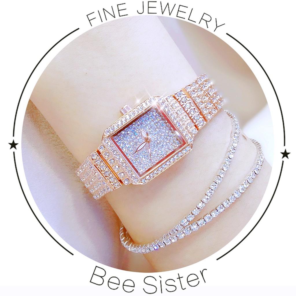 Đồng Hồ Nữ BS Bee Sister - vàng hồng (mặt vuông) + Tặng hộp & Pin dự phòng