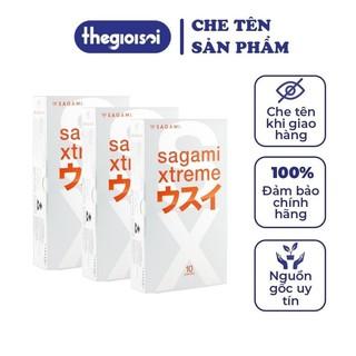 Bcs Sagami Superthin bao cao su siêu mỏng nhiều gel bôi trơn 3 hộp 12c không mùi có che tên sản phẩm - thegi thumbnail