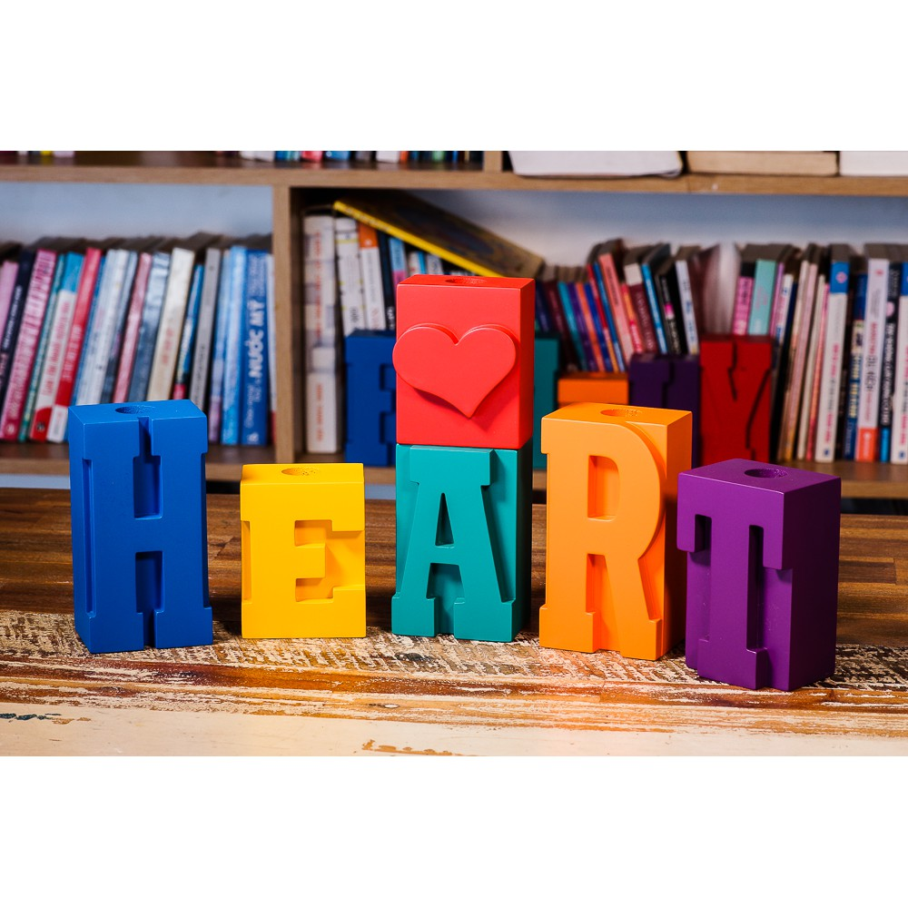 """Chân nến gỗ các chữ """"HEART""""/ """"FRIEND""""/ """"LOVE""""/ """"FAMILY"""""""