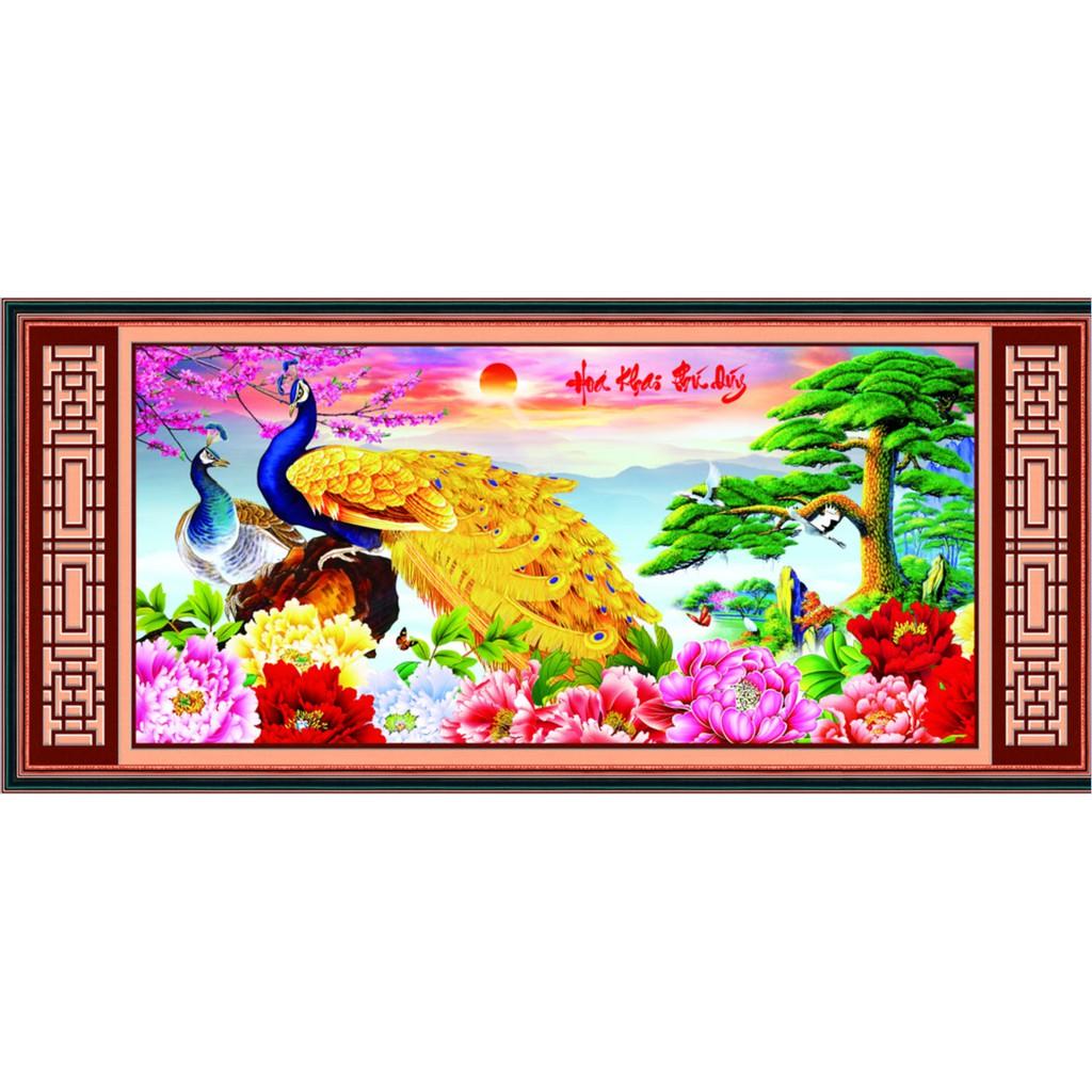 Tranh thêu chữ thập kết hạt đá Hoa Khai Phú Quý