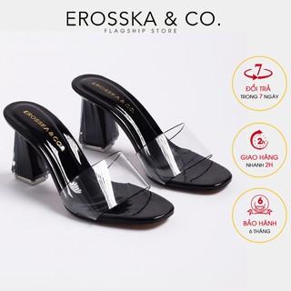 Dép cao gót quai trong Erosska thời trang mũi vuông gót trong cao 9cm màu đen _ EM040