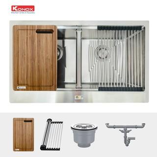 Chậu rửa bát inox đúc nguyên khối KONOX Apron Series KN8750DA, inox 304AISI, full set gồm Siphon+Thớt gỗ+Rollmat