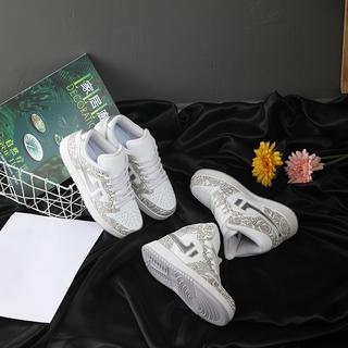 Giày sneaker trắng phản quang, giày thể thao nam nam cao cổ