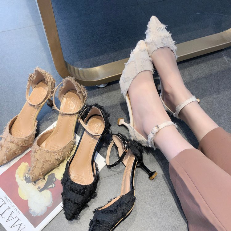 High-heeled shoes, women's shoes, wild, shallow-nosed sandals, chic shoes,