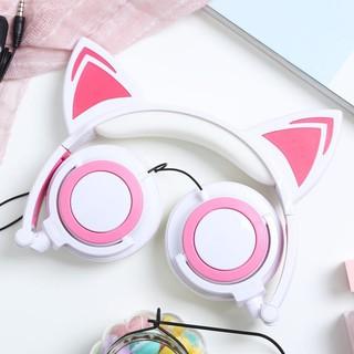 Tai nghe tai mèo trắng hống siêu cute