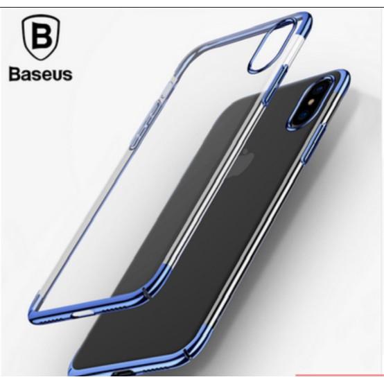 Ốp lưng IPHone X hiệu Baseus Glitter viền màu - Tặng kính cường lực