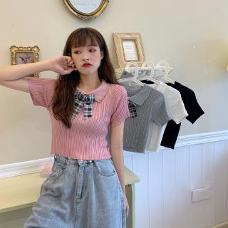 price bow short detachable knit Short T reduction real age Cute top shot polo Sleeve Real student collar