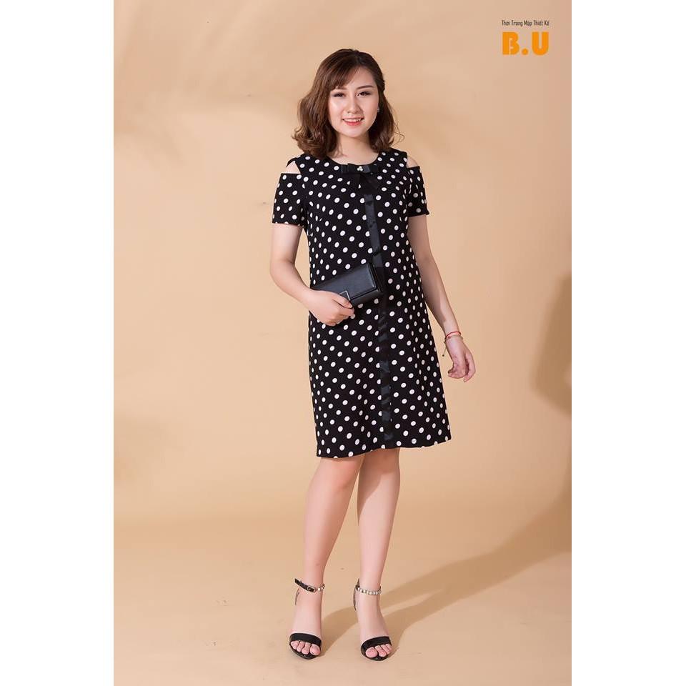 (Big Size XL-3XL)Đầm Chấm bi khoét vai DVNL25