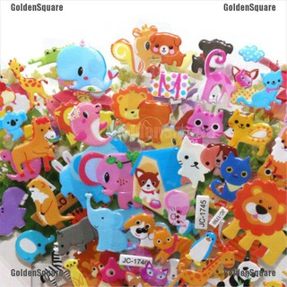 5sheets 3D Bubble Sticker Toys Children Kids Animal Classic Stickers Gift [GoldenSquare]