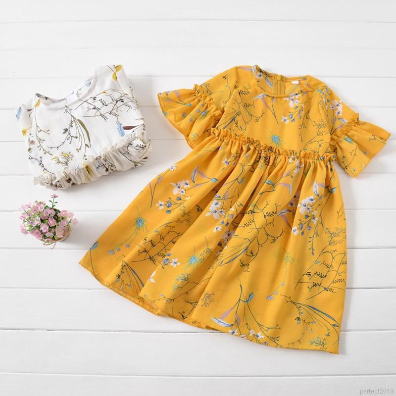 Đầm tay ngắn họa tiết hoa cho bé gái